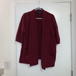 AE shirt sleeve burgundy cardigan
